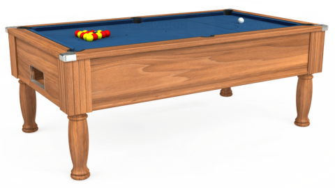 7ft Monarch Free Play in Light Walnut with Hainsworth Elite-Pro Cadet Blue cloth