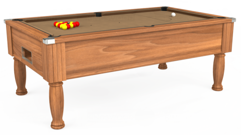 7ft Monarch Free Play in Light Walnut with Hainsworth Elite-Pro Camel cloth