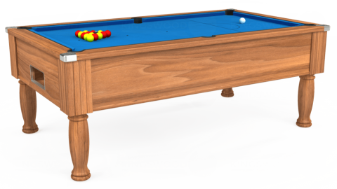 7ft Monarch Free Play in Light Walnut with Hainsworth Elite-Pro Electric Blue cloth