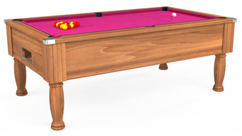 7ft Monarch Free Play in Light Walnut with Hainsworth Elite-Pro Fuchsia cloth