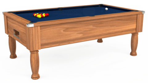 7ft Monarch Free Play in Light Walnut with Hainsworth Elite-Pro Marine Blue cloth