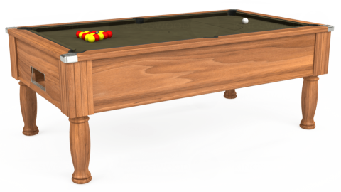 7ft Monarch Free Play in Light Walnut with Hainsworth Elite-Pro Olive cloth