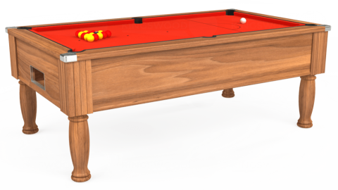 7ft Monarch Free Play in Light Walnut with Hainsworth Elite-Pro Orange cloth