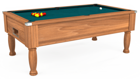 7ft Monarch Free Play in Light Walnut with Hainsworth Elite-Pro Petrol Blue cloth