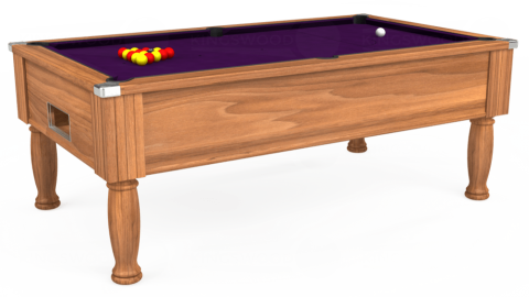 7ft Monarch Free Play in Light Walnut with Hainsworth Elite-Pro Purple cloth