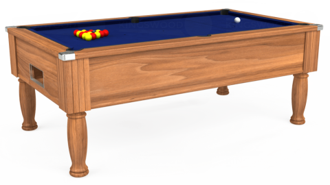 6ft Monarch Free Play in Light Walnut with Hainsworth Elite-Pro Royal Blue cloth