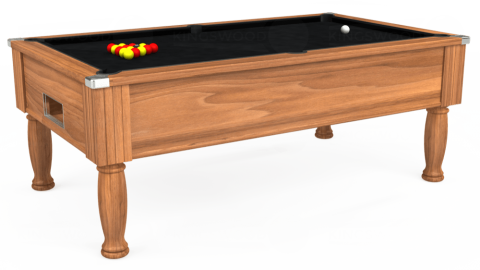 7ft Monarch Free Play in Light Walnut with Hainsworth Smart Black cloth