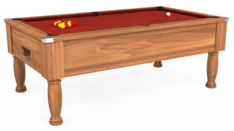 7ft Monarch Free Play in Light Walnut with Hainsworth Smart Cherry cloth