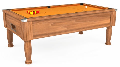 7ft Monarch Free Play in Light Walnut with Hainsworth Smart Gold cloth