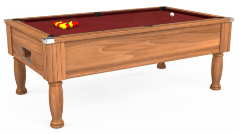 7ft Monarch Free Play in Light Walnut with Hainsworth Smart Maroon cloth