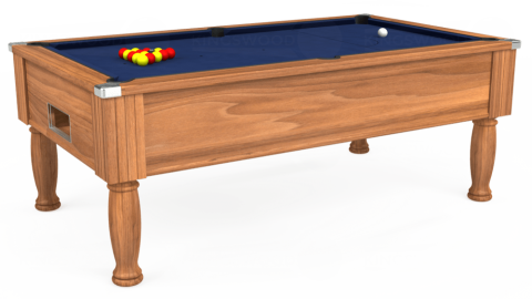 7ft Monarch Free Play in Light Walnut with Hainsworth Smart Navy cloth