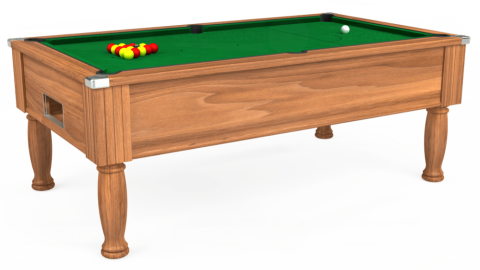 7ft Monarch Free Play in Light Walnut with Hainsworth Smart Olive cloth