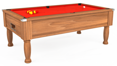 7ft Monarch Free Play in Light Walnut with Hainsworth Smart Orange cloth