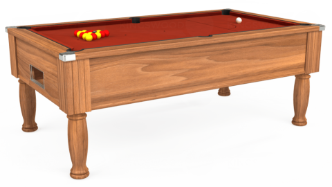 7ft Monarch Free Play in Light Walnut with Hainsworth Smart Paprika cloth