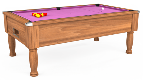 7ft Monarch Free Play in Light Walnut with Hainsworth Smart Pink cloth