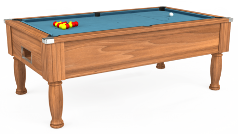 7ft Monarch Free Play in Light Walnut with Hainsworth Smart Powder Blue cloth