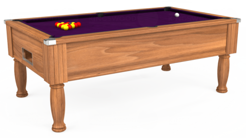 6ft Monarch Free Play in Light Walnut with Hainsworth Smart Purple cloth