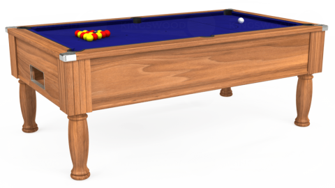 7ft Monarch Free Play in Light Walnut with Hainsworth Smart Royal Blue cloth