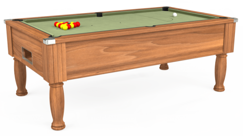 7ft Monarch Free Play in Light Walnut with Hainsworth Smart Sage cloth