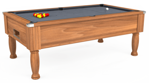 7ft Monarch Free Play in Light Walnut with Hainsworth Smart Silver cloth