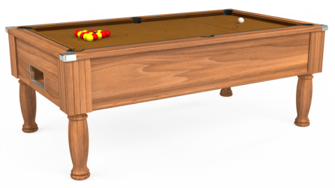 7ft Monarch Free Play in Light Walnut with Hainsworth Smart Tan cloth
