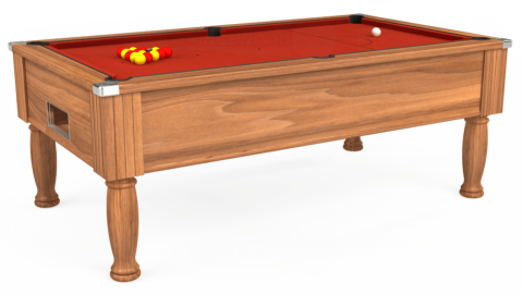7ft Monarch Free Play in Light Walnut with Hainsworth Smart Windsor Red cloth
