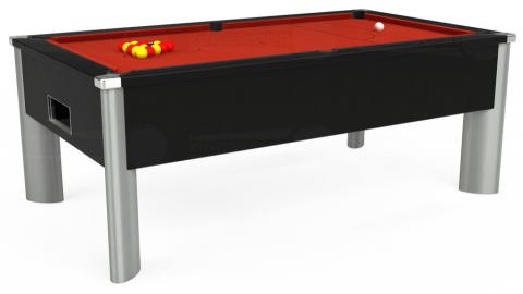 6ft Monarch Fusion Free Play in Black with Hainsworth Smart Windsor Red cloth