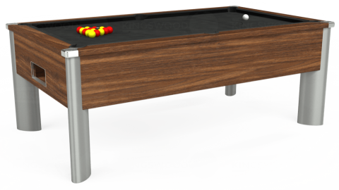 7ft Monarch Fusion Free Play in Dark Walnut with Standard Black cloth
