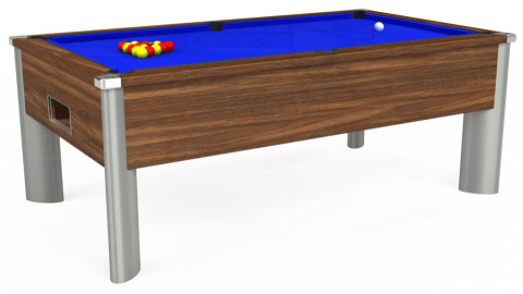 7ft Monarch Fusion Free Play in Dark Walnut with Standard Blue cloth