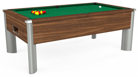 7ft Monarch Fusion Free Play in Dark Walnut with Hainsworth Elite-Pro American Green cloth