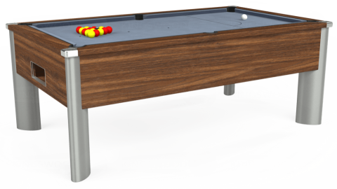 6ft Monarch Fusion Free Play in Dark Walnut with Hainsworth Elite-Pro Bankers Grey cloth