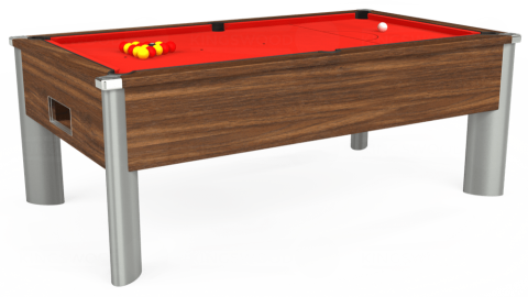 7ft Monarch Fusion Free Play in Dark Walnut with Hainsworth Elite-Pro Bright Red cloth