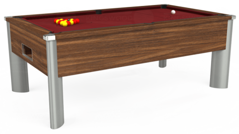 7ft Monarch Fusion Free Play in Dark Walnut with Hainsworth Elite-Pro Burgundy cloth