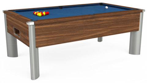 7ft Monarch Fusion Free Play in Dark Walnut with Hainsworth Elite-Pro Cadet Blue cloth