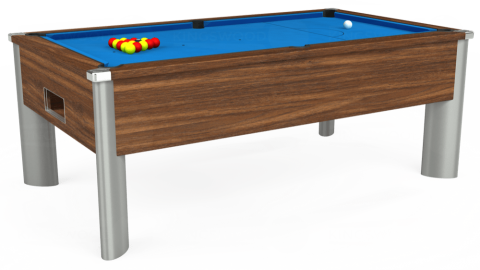 7ft Monarch Fusion Free Play in Dark Walnut with Hainsworth Elite-Pro Electric Blue cloth