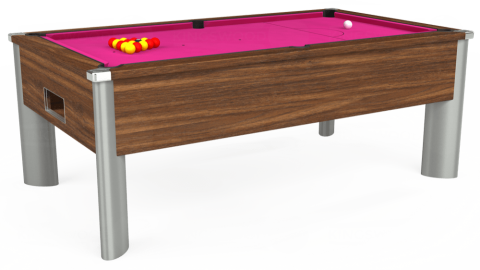 6ft Monarch Fusion Free Play in Dark Walnut with Hainsworth Elite-Pro Fuchsia cloth
