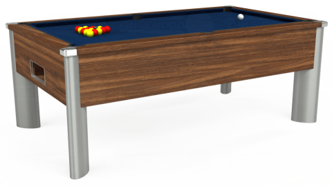 7ft Monarch Fusion Free Play in Dark Walnut with Hainsworth Elite-Pro Marine Blue cloth