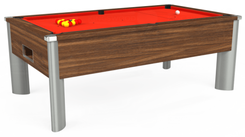 7ft Monarch Fusion Free Play in Dark Walnut with Hainsworth Elite-Pro Orange cloth