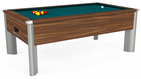 7ft Monarch Fusion Free Play in Dark Walnut with Hainsworth Elite-Pro Petrol Blue cloth