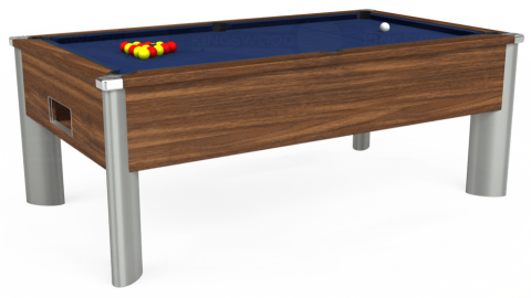 6ft Monarch Fusion Free Play in Dark Walnut with Hainsworth Smart Royal Navy cloth