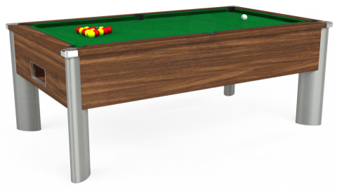 7ft Monarch Fusion Free Play in Dark Walnut with Hainsworth Smart Olive cloth