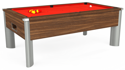 7ft Monarch Fusion Free Play in Dark Walnut with Hainsworth Smart Orange cloth