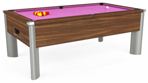7ft Monarch Fusion Free Play in Dark Walnut with Hainsworth Smart Pink cloth