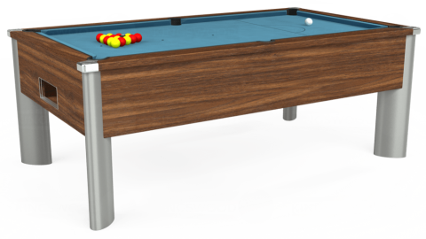 7ft Monarch Fusion Free Play in Dark Walnut with Hainsworth Smart Powder Blue cloth
