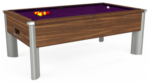 6ft Monarch Fusion Free Play in Dark Walnut with Hainsworth Smart Purple cloth