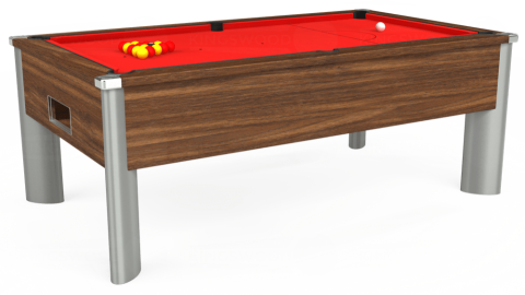 7ft Monarch Fusion Free Play in Dark Walnut with Hainsworth Smart Red cloth