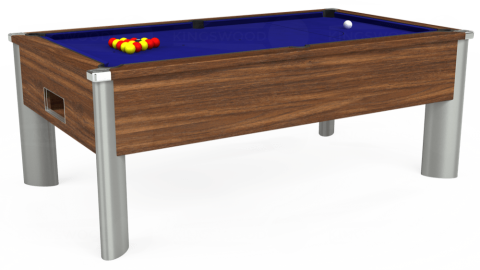 7ft Monarch Fusion Free Play in Dark Walnut with Hainsworth Smart Royal Blue cloth