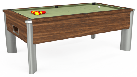7ft Monarch Fusion Free Play in Dark Walnut with Hainsworth Smart Sage cloth