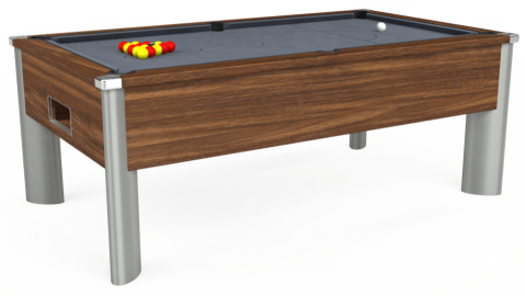 6ft Monarch Fusion Free Play in Dark Walnut with Hainsworth Smart Silver cloth