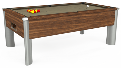 7ft Monarch Fusion Free Play in Dark Walnut with Hainsworth Smart Taupe cloth